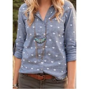 AG Adriano Goldschmied Heart Print Chambray Top
